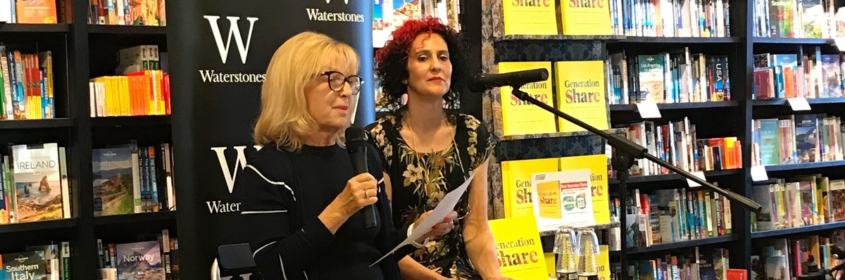 Angela Laws speaking at Generation Share Book Launch Waterstones Brighton